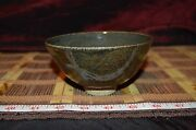 "Handmade Pottery Asian Style Bowl Stoneware Art Brown 5""x2 5/8"" Signed"