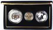 2015 Us Marshals 225th Anniv. 3 Coin Silver Gold And Clad Proof Set As Issued
