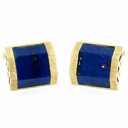 Vintage La Triomphe 14k Yellow Gold And Trapezoidal Cut Blue Lapis Mens Cuff Links