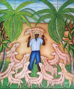 The Lost Lamb By Toussaint Auguste - Naive Haitian Art - 20 Inches X 24 Inches