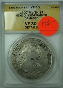 1807-mo Th Mexico 8r Reales Silver Coin Anacs Vf-30 Details Chopmarked Damaged