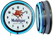 Mobil Gas Socony Vacuum 19 Double Neon Clock Man Cave Garage Red Or Blue Neon