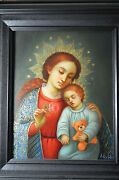 Virgin Madonna And Child Oil Painting Spanish Colonial Art Cuzco School