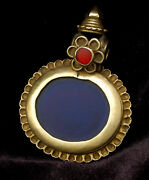 Antique Ethnic 20k Gold Pendant With Blue And Red Glass South India 19th Century