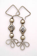 Tribal Ethnic Silver Earrings With Bold Design With Niello Work China 1950and039s