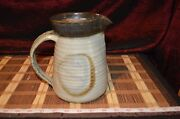 """Asian Hand Made Pottery Pitcher Vase Browns and Grey Signed 7 1/8""""x7"""""""