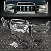 Chrome Brush Grill Guard+round Clear Fog Light For 93-98 Jeep Grand Cherokee Zj