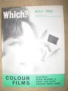 Vintage Which Magazine May 1962 Colour Films - Food Mixers - First Aid Kits