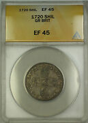 1720 England Great Britain Silver Shilling Coin George I Anacs Ef-45
