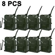 8pcs 5 Gallon Jerry Can Fuel Steel Tank Military Army Backup 20l With Holder