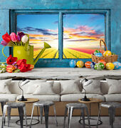 3d Sunset Flower Field Kettle Wall Paper Print Decal Wall Deco Indoor Wall Mural
