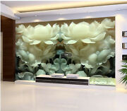 3d White Jade Flowers Wall Paper Wall Print Decal Wall Deco Indoor Wall Murals