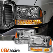 Fit 1999-2004 Ford F-series 00-04 Excursion Headlights W/led Bumper Signal