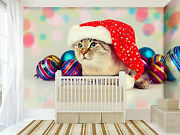 3d Christmas Hat Cat Wall Paper Wall Print Decal Wall Deco Indoor Wall Mural