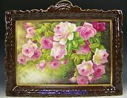 Beaufitul Limoges France Hand Painted Roses Plaque Artist Glanchat