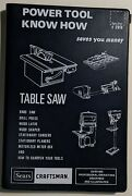 Power Tool Know How Table Saw And Other Tools Sears Craftsman