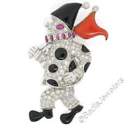 Vintage 18k White Gold Diamond Ruby Black Onyx And Coral Clown Mobile Pin Brooch
