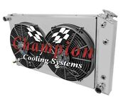 1968 69 70 71 72 73 Chevy Chevelle 3 Row Champion Radiator With Shroud And Fans