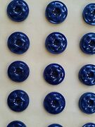 Vintage Buttons - 24 Navy Blue Carved Dimpled 4-hole Casein Buttons - France