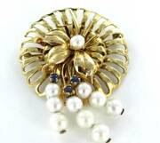 14k Karat Solid Yellow Gold Pin Brooch Vintage Christmas Pearl Sapphire Antique