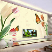 3d Color Tulip Butterfly 6868 Wall Paper Wall Print Decal Wall Aj Wallpaper Ca