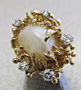 Gorgeous 18k Gold And Diamond Freshwater Pearl Ring Size 6 Must See And Make Offer