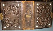 Antique 1800's Small Tooled Leather Photo Album Brass Clasp Porcelain Tips