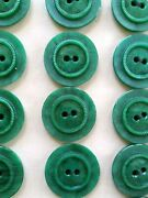 Vintage Buttons - 24 Green Raised Center 2-hole Casein 7/8 Buttons - France