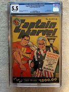 Captain Marvel Adventures 16 Cgc 5.5 Oct 1942 Off/wht Pg And Full Color Photocopy