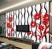 3d Line Red Flower 654 Wall Paper Wall Print Decal Wall Deco Indoor Wall Murals