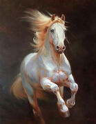 Chop321 100 Hand-painted Abstract Animal White Horse Art Oil Painting On Canvas
