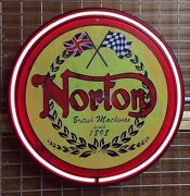 Norton Motorcycles 800mm Diameter Neon Sign Perfect With Harley Indian Bsa