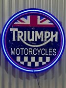 Triumph Motorcycles 800mm Diameter Neon Sign Perfect With Harley Indian Bsa
