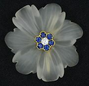 Fancy Rock Crystal Diamond And Sapphire Gold Flower Pin Brooch 1.5 / 12.9g