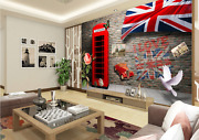 3d Red Phone Booth Pigeons 5436 Wall Paper Wall Print Decal Wall Aj Wallpaper Ca