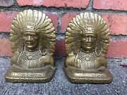 Antique Native American Indian Whirling Log Bronze Art Sculpture Statue Bookends