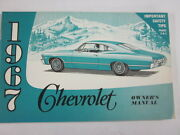 1967 Original Chevrolet Owners Manual Second Edition Ss Impala Caprice Belair 2