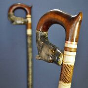 Wolf Cane Walking Cane Stick Carved Wood Wooden Handmade Sale