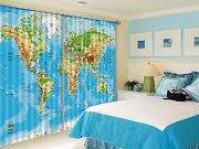 3d World Map 33 Blockout Photo Curtain Printing Curtains Drapes Fabric Window Au