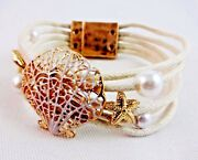 Seashore Bracelet Gold Shell White Simulated Pearls Rope Strands Magnetic Clasp