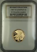1987-w Proof 5 Constitution Gold Coin Ngc Pf-70 Ultra Cameo Perfect Gem B
