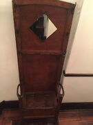 Oak Hall Stand - Early 1900's - Bench, Beveled Mirror, Umbrella Slots - 475
