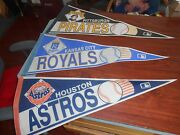 Vintage 1960s Mlb Pennants Flags Lot Of 3 Astros Pirates, Kc Royals