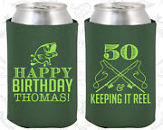 Personalized 50th Birthday Party Favor Koozies 20066 Fisherman, Fishing, Gifts