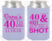 Personalized 40th Birthday Party Favor Koozies 20086 Buy Me A Shot Items Gifts