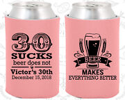 Personalized 30th Birthday Party Gifts Koozie 20097 30 Sucks Beer Does Not