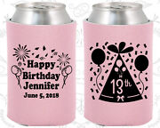Personalized 13th Birthday Party Favor Koozies 20116 Confetti Birthday, Gifts
