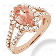 Pear-cut Peach Pink Morganite And Diamond Halo Engagement Ring 14k Rose Gold