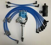 Sbc Chevy 350 Blue Small Hei Distributor+black 45k Coil+spark Plug Wires Over Vc