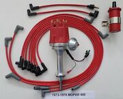 Small Cap Mopar 1973-78 400 Red Hei Distributor 45k Red Coil +spark Plug Wires